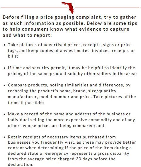 COVID19 Price Gouging Checklist
